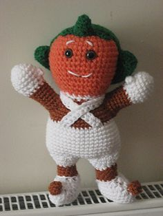 for this adorable Oompa-Loompa is written in the amigurumi style. You can use any DK yarn and a 4mm hook or worsted weight and a 5mm hook (this one will turn out a little bigger)