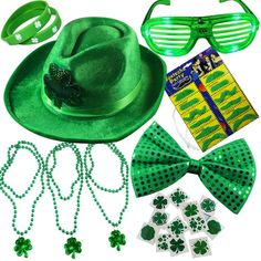 Amazon.com: Joyin Toy 32 Pieces St. Patrick's Day Accessory Set Party Favors with St. Patrick Shamrock Fedora Hat, Beads Necklace, Mustaches, Sequin Bow, Light-up Glasses, Temporary Tattoos, and Rubber Bracelets.: Toys & Games