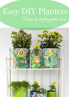 Dress up empty paint cans to make these easy #DIY planters