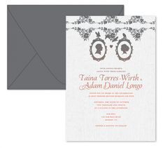 On Limba, this is a great Panel Card invite. Adorable silhouettes and ombre type printing.