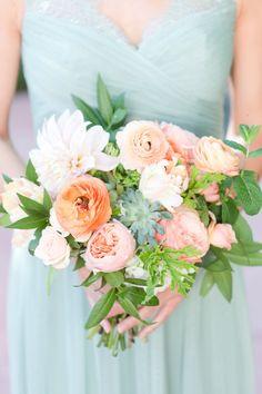 bridesmaid dress, mint green dress, peach and mint wedding, blush and green wedding,peach flowers, blush flowers, garden bouquet