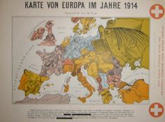Some of the artists became quite famous. This Karte von Europa im Jahre 1914 is a relatively early work by Walter Trier, a young man in his ...