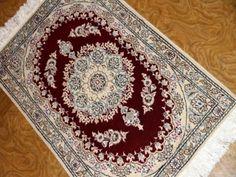 赤い玄関マットおしゃれなペルシャ絨毯58074、ペルシャ絨毯ナイン産