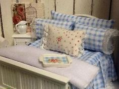 Miniature Dollhouse Bedding  Blue and White Shabby by DebbieCalif, $30.00 by isabel123