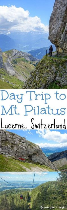 How to do a Day Trip to Mt. Pilatus near Lucerne, Switzerland. A travel adventure in the Swiss Alps that starts on a steamboat ferry over a lake, up the steepest cogwheel train in the world and then hiking. To get down Mount Pilatus you take a beautiful gondola ride. A bucket list destination Europe and the one of the best things to do in Central Switzerland.... beautiful views! / Running in a Skirt #boatonlakedreams