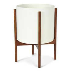 Large Planter White Walnut Stand now featured on Fab.