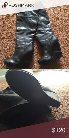 Aldo Boots Leather wedge boots/Excellent condition!!  Worn twice ALDO Shoes Heeled Boots