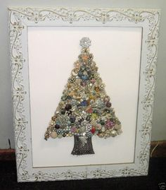 framed jewelry tree - vintage