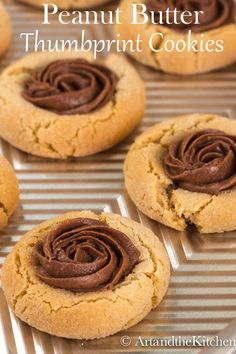 Peanut Butter Thumbprint Cookies are the BEST peanut butter cookies I've ever baked. Amazing tasting Peanut Butter Cookies with a tasty dollop of Reese Peanut Butter Chocolate Spread Peanut Butter Thumbprint Cookies, Best Peanut Butter Cookies, Chocolate Peanut Butter, Chocolate Ganache, Yummy Cookies, Yummy Treats, Delicious Desserts, Sweet Treats, Cookie Desserts