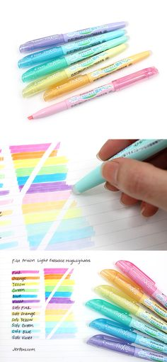 These FriXion Light highlighters are erasable! Great for highlighting textbooks and notes. Too Cool For School, Back To School, School School, School Organization, Planner Organization, Erasable Highlighters, Cool School Supplies, Office Supplies, Stationary School