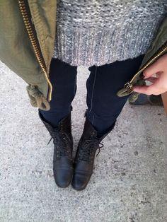 velvetized:    Knit sweater:Aerie  Olive parka:Garage  Indigo jegging:American Eagle