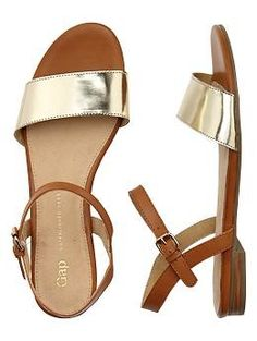 Metallic and Camel Leather sandals