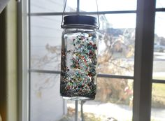 """""""Rainbow in a jar"""" ~ Repurposed spice jar, colorful glass seed beads, clear craft glue & wire for hanging. Made as a dorm gift for a college freshman. Glue Crafts, Sewing Crafts, Diy Crafts, Rainbow In A Jar, Fete Ideas, Baby Food Jars, Spice Jars, Sweet Tea, Freshman"""