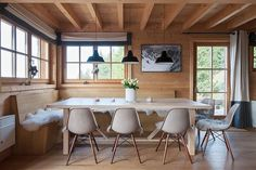 Chalet in Switzerland by Donatienne d'Ogimont | Home Adore | Shell Chairs on Dowel Base | www.gewoonstijl.nl