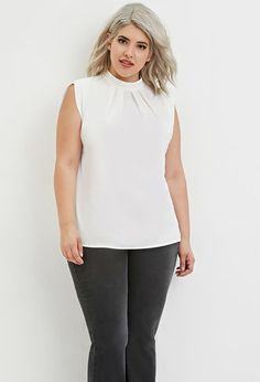 Plus Size Pleated Mock Neck Top | Forever 21 PLUS - 2000183057