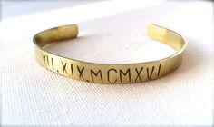 Mens brass roman numerals cuff /bangle