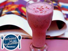 Banaani-vadelmasmoothie s-market Lassi, Panna Cotta, Smoothies, Good Food, Drinks, Cooking, Tableware, Ethnic Recipes, Desserts
