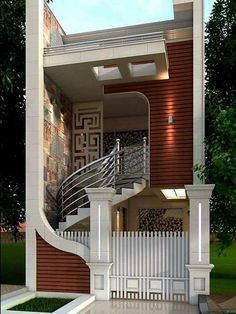 special edition modern house design for your 2020 architectural inspiration Narrow House Designs, Modern Exterior House Designs, Unique House Design, House Front Design, Minimalist House Design, Exterior Design, Creative Design, House Design Pictures, Model House Plan