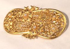 Vintage 1950's Large Brooch Pin  Gold Tone with by KMSCollectibles