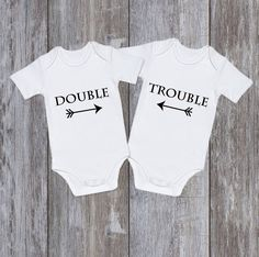 TWIN ONESIES Twin Bodysuits Funny Onesie Twins Set Of 2 Neutral Babysuits OnesiesFunny Outfit Unisex DOUBLE Trouble