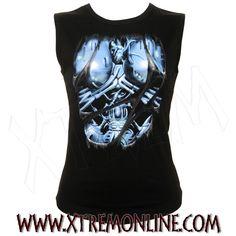 Camiseta de tirantes Bionic Woman. Gran variedad de ropa gótica y heavy para chica. Visitanos!