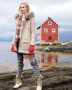 J.Crew women's chateau parka, stripe brushed scarf, and Sperry Top-Sider for J.Crew boots.
