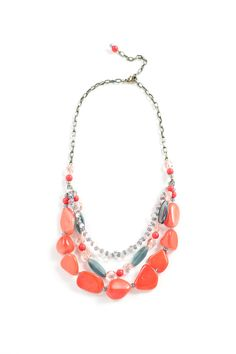 Coral multi strand statement necklace with by BraveButterfly, $72.00