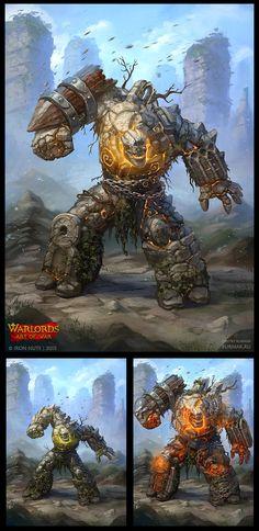 Warlords: Art of War - Golem, Dmitry Burmak on ArtStation at https://www.artstation.com/artwork/warlords-art-of-war-golem