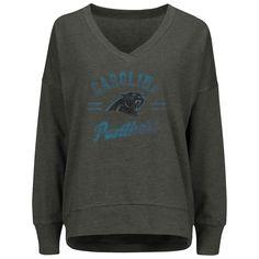 970803eb Women's Carolina Panthers Majestic Charcoal Great Play V-Neck Sweatshirt