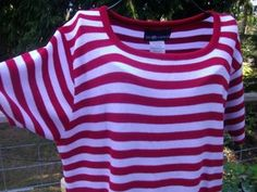 Sag Harbor Red and White Stripped Top ~ Career, Office, Professional Fashion