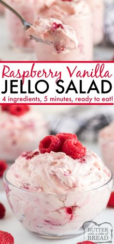 Raspberry Vanilla Jello Salad is one of the easiest jello recipes you will ever . - It's Always Autumn Raspberry Vanilla Jello Salad is one of the easiest jello recipes you will ever . Raspberry V Fluff Desserts, Dessert Salads, Fruit Salad Recipes, Köstliche Desserts, Delicious Desserts, Yummy Food, Jello Salads, Jello Cool Whip Salad, Jello Pudding Desserts