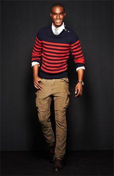 Michael Bastian Stripe Sweater w/ 3 Button Shoulder Placket