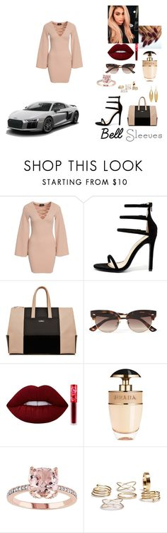 """""""bell date night"""" by jessiemckals ❤ liked on Polyvore featuring AX Paris, Liliana, Gucci, Lime Crime, Prada, Kenneth Jay Lane, bellsleeves and CLASSICLADY"""