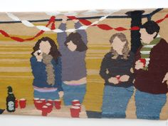 """Beer Pong"" — Erin M. Riley (Hand Woven Tapestry with Hand Dyed Wool)"