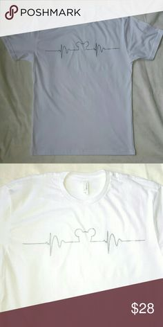 Mickey Mouse lifeline t-shirt. White New no tag. Beautiful design with metallic silver screen print. Excellent tshirt fabric and quality. Shirts Tees - Short Sleeve