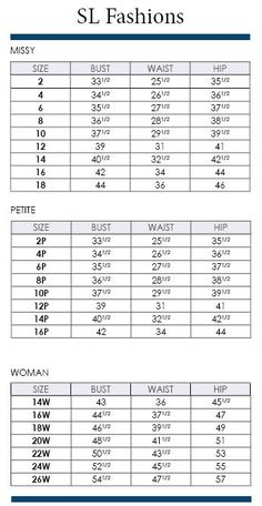 Westbound Plus Size Chart via Dillards | Brand Name Plus Size ...