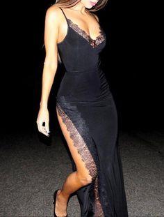 Spaghetti Strap Maxi Dress With Side Split : Spaghetti Strap Dress Dress Outfits, Dress Up, Bodycon Dress, Prom Dresses, Fashion Outfits, Fashion Tips, Skater Outfits, Maxi Dress With Slit, Fashion Hacks