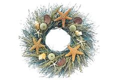 "22"" Exotic Shell Wreath, Dried 