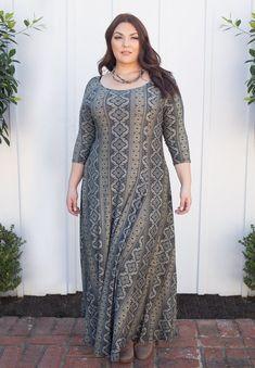 NEW Plus Size Fashion for Women Daphne Maxi Dress - Olive Print – Curvalicious Clothes