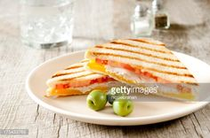 """""""Closeup of grilled panini sandwiches with turkey, cheese and. Sandwich Toaster, Panini Sandwiches, Turkey, Cheese, Breakfast, Food, Morning Coffee, Turkey Country, Toasted Sandwich Makers"""
