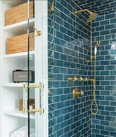 Love this color tile. Love it with the brass. Love this color tile. I love the brass. Bathroom Renos, Bathroom Interior, Bathroom Fixtures, Modern Bathroom, Fancy Bathrooms, Zen Bathroom, Remodel Bathroom, Minimalist Bathroom, Kitchen Remodel