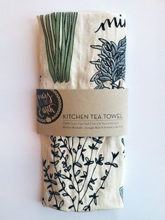 Sage Green & Blue Herb Illustration Tea Towel. $12.00, via Etsy.