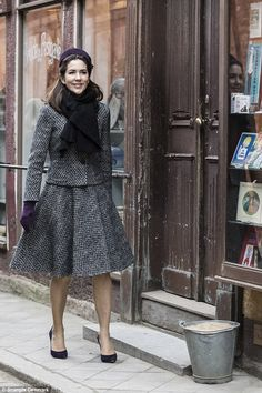 Crown Princess Mary donned one of her favorite pillbox hats for the opening of the 'Jewel Box' exhibition at the Old Town Museum in Aarhus, Denmark on Tuesday Princesa Mary, Crown Princess Mary, Mary Of Denmark, Mary Donaldson, Prince Héritier, Style Royal, Denmark Fashion, Princess Marie Of Denmark, Aarhus