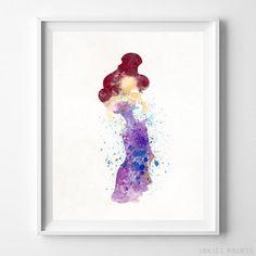 Megara, Hercules Disney Watercolor Wall Art Print. Prices from $9.95. Available at InkistPrints.com - #disney #watercolor #giftidea #disneyart #wallart #Hercules #Megara
