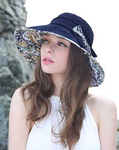#AdoreWe #VIPme Hats & Caps - Designer Thantrue Dark Blue Floral Printed Bowknot Floppy Sun Hat With Neck Cord - AdoreWe.com