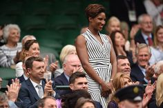 Denise Lewis wearing Winser London at Wimbledon