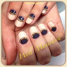 Bling to the bling. #wellmanicured #nails #nailart #nailstylist #nailartist #gold #goldstuds #diamonds #gelish #gel #freehand #manhattanbeach #hermosabeach #intheheartofthesouthbay #artist #nailbling #halfmoonmani #reversefrench #Padgram