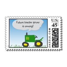 Tractor Baby Shower Postage Stamp for Sarah's shower