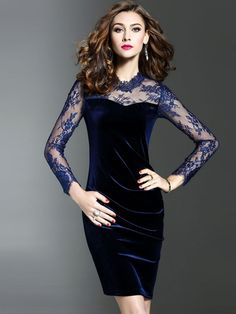 4a02101e9b Contrast Solid Color Mesh Zipper O-Neck Long Sleeves Skinny Fit Dresses