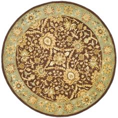 Antiquity Chocolate/Blue (Brown/Blue) 6 ft. x 6 ft. Round Area Rug